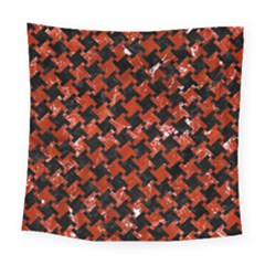 Houndstooth2 Black Marble & Red Marble Square Tapestry (large)
