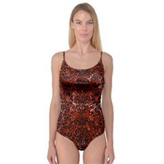 Damask2 Black Marble & Red Marble (r) Camisole Leotard