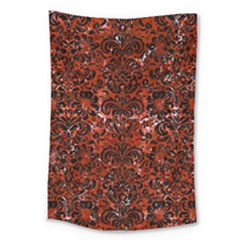 Damask2 Black Marble & Red Marble (r) Large Tapestry