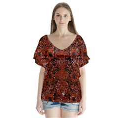 Damask2 Black Marble & Red Marble V Neck Flutter Sleeve Top