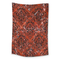 Damask1 Black Marble & Red Marble (r) Large Tapestry