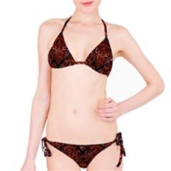 Damask1 Black Marble & Red Marble Bikini Set