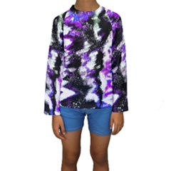 Abstract Canvas Acrylic Digital Design Kids  Long Sleeve Swimwear