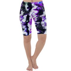 Abstract Canvas Acrylic Digital Design Cropped Leggings