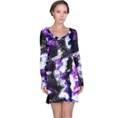Abstract Canvas Acrylic Digital Design Long Sleeve Nightdress