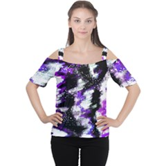 Abstract Canvas Acrylic Digital Design Women s Cutout Shoulder Tee