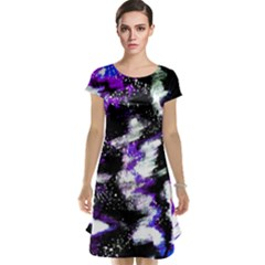 Abstract Canvas Acrylic Digital Design Cap Sleeve Nightdress