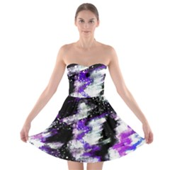 Abstract Canvas Acrylic Digital Design Strapless Bra Top Dress