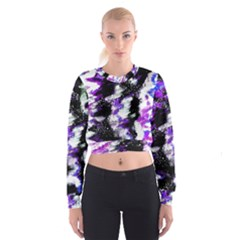 Abstract Canvas Acrylic Digital Design Women s Cropped Sweatshirt