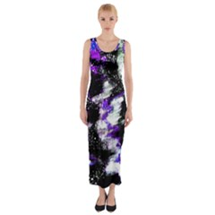 Abstract Canvas Acrylic Digital Design Fitted Maxi Dress
