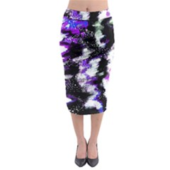 Abstract Canvas Acrylic Digital Design Midi Pencil Skirt