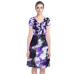 Abstract Canvas Acrylic Digital Design Short Sleeve Front Wrap Dress