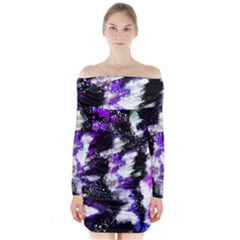 Abstract Canvas Acrylic Digital Design Long Sleeve Off Shoulder Dress