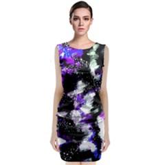 Abstract Canvas Acrylic Digital Design Sleeveless Velvet Midi Dress