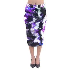 Abstract Canvas Acrylic Digital Design Velvet Midi Pencil Skirt