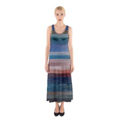 Background Horizontal Lines Sleeveless Maxi Dress
