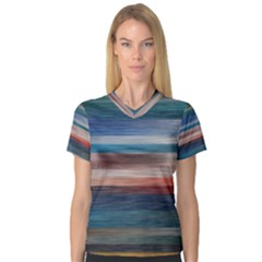 Background Horizontal Lines Women s V Neck Sport Mesh Tee
