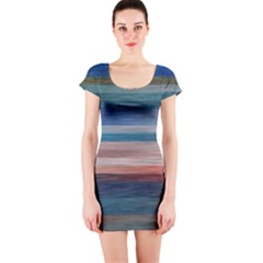 Background Horizontal Lines Short Sleeve Bodycon Dress