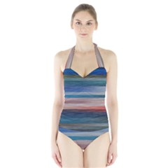 Background Horizontal Lines Halter Swimsuit
