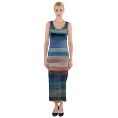 Background Horizontal Lines Fitted Maxi Dress