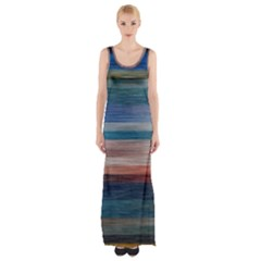 Background Horizontal Lines Maxi Thigh Split Dress