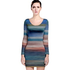Background Horizontal Lines Long Sleeve Velvet Bodycon Dress