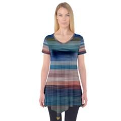 Background Horizontal Lines Short Sleeve Tunic