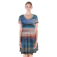 Background Horizontal Lines Short Sleeve V Neck Flare Dress