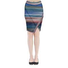 Background Horizontal Lines Midi Wrap Pencil Skirt