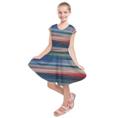 Background Horizontal Lines Kids  Short Sleeve Dress