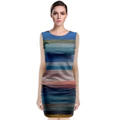 Background Horizontal Lines Sleeveless Velvet Midi Dress