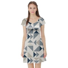 Geometric Triangle Modern Mosaic Short Sleeve Skater Dress