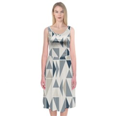 Geometric Triangle Modern Mosaic Midi Sleeveless Dress