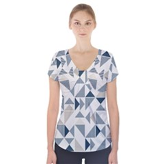 Geometric Triangle Modern Mosaic Short Sleeve Front Detail Top