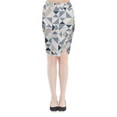 Geometric Triangle Modern Mosaic Midi Wrap Pencil Skirt