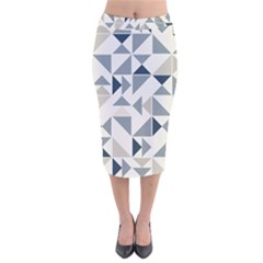 Geometric Triangle Modern Mosaic Velvet Midi Pencil Skirt