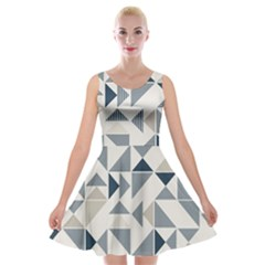 Geometric Triangle Modern Mosaic Velvet Skater Dress
