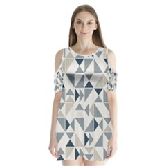 Geometric Triangle Modern Mosaic Shoulder Cutout Velvet  One Piece