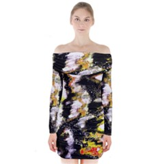 Canvas Acrylic Digital Design Art Long Sleeve Off Shoulder Dress