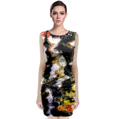 Canvas Acrylic Digital Design Art Sleeveless Velvet Midi Dress