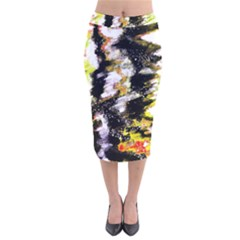 Canvas Acrylic Digital Design Art Velvet Midi Pencil Skirt