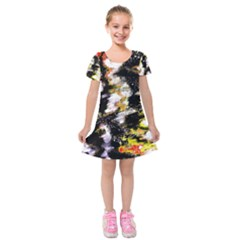 Canvas Acrylic Digital Design Art Kids  Short Sleeve Velvet Dress