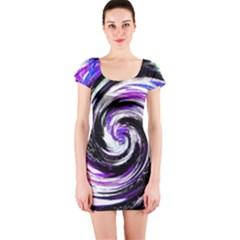 Canvas Acrylic Digital Design Short Sleeve Bodycon Dress