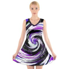 Canvas Acrylic Digital Design V Neck Sleeveless Skater Dress