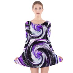 Canvas Acrylic Digital Design Long Sleeve Velvet Skater Dress