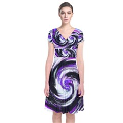 Canvas Acrylic Digital Design Short Sleeve Front Wrap Dress