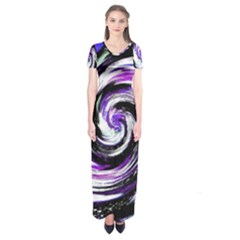 Canvas Acrylic Digital Design Short Sleeve Maxi Dress