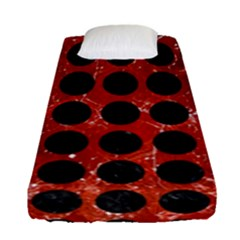 Circles1 Black Marble & Red Marble (r) Fitted Sheet (single Size)