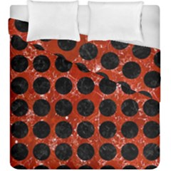 Circles1 Black Marble & Red Marble (r) Duvet Cover Double Side (king Size)
