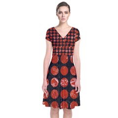 Circles1 Black Marble & Red Marble Short Sleeve Front Wrap Dress